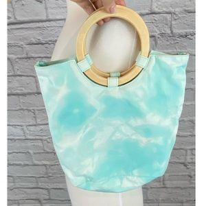 Reverse Tie Dyed Canvas Wooden Handle Bag/Purse